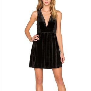 LUCCA COUTURE Velvet Plunging Neckline Mini Dress